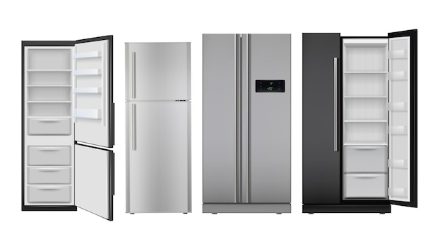Fridge realistic. open and closed home refrigerator empty freezer for healthy food  set. Premium Vector