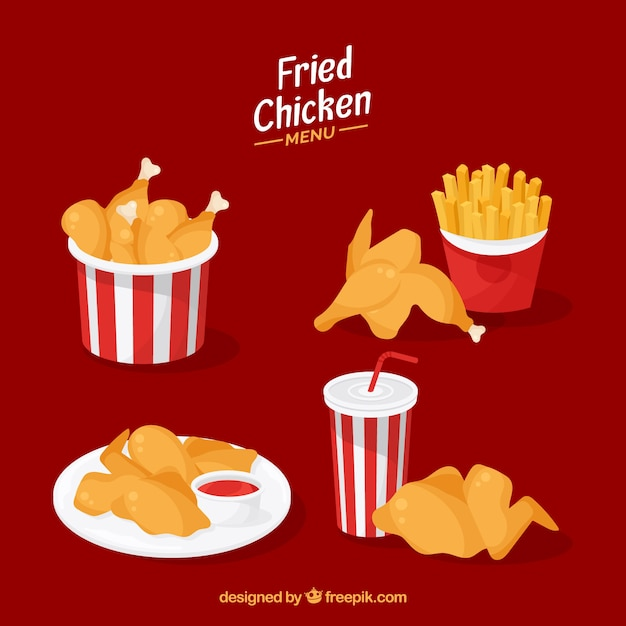 Fried Chicken Collection Vector Free Download