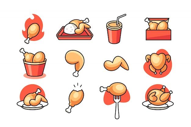 Fried chicken icon set Premium Vector