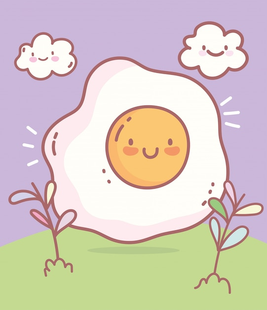 Fried egg character menu restaurant cartoon food cute Premium Vector