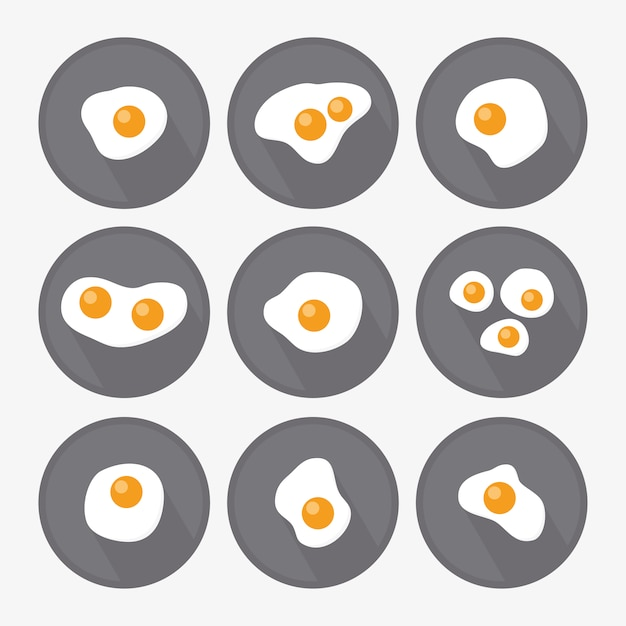 Fried egg designs collection Free Vector