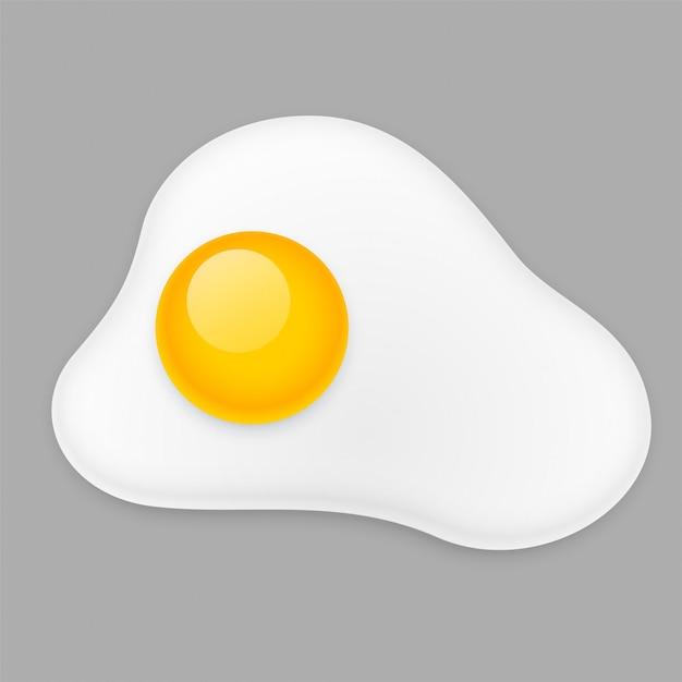 揚げ卵のオムレツ、グレーに分離 無料ベクター