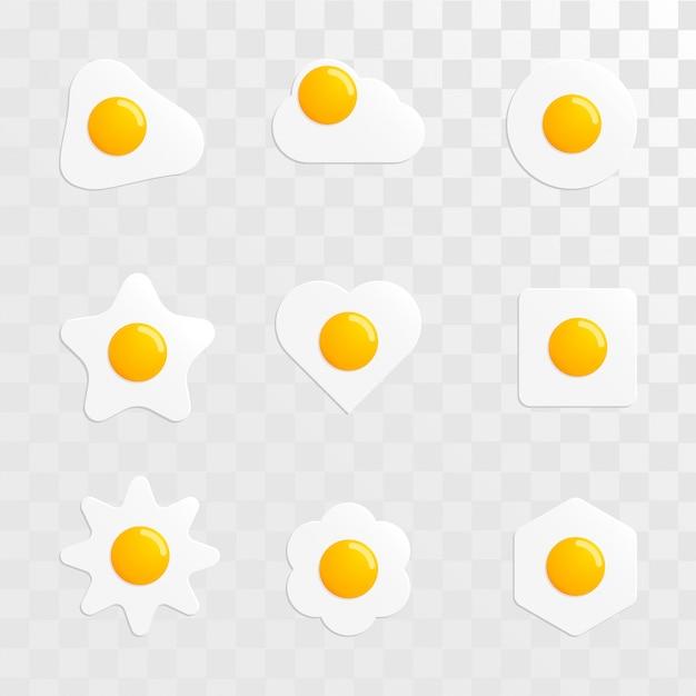 Fried egg shape variant set vector image Premium Vector