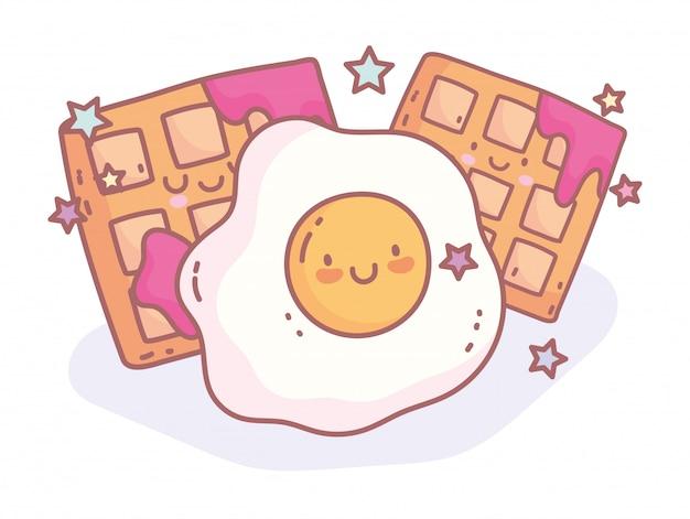 Fried egg and waffle with jam menu restaurant cartoon food cute Premium Vector