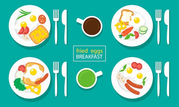 Fried eggs breakfast. sausages, toasts, cheeses, vegetables. coffee and tea. Premium Vector