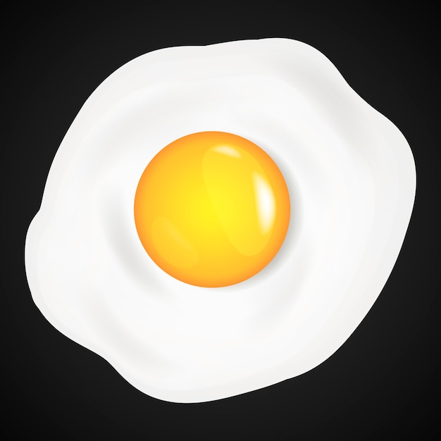 Fried eggs, omelet in cartoon style. Premium Vector