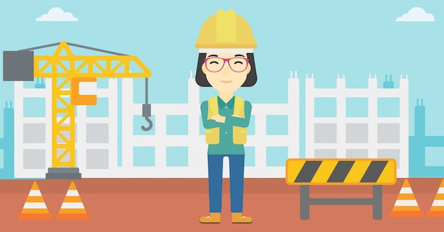Friendly builder with arms crossed. Premium Vector