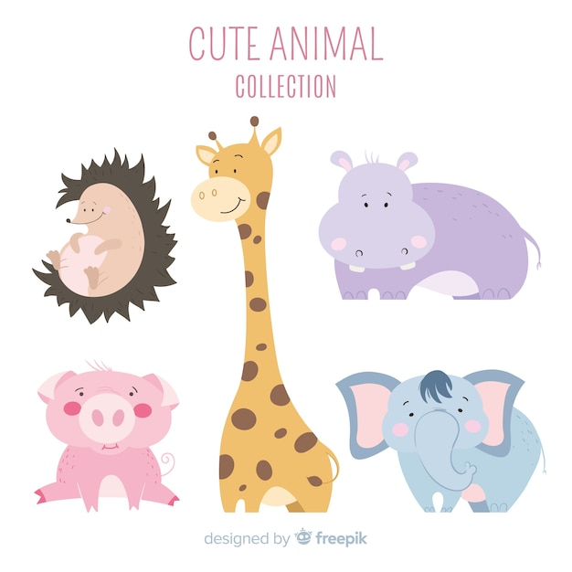 Friendly and cute animal collection Free Vector