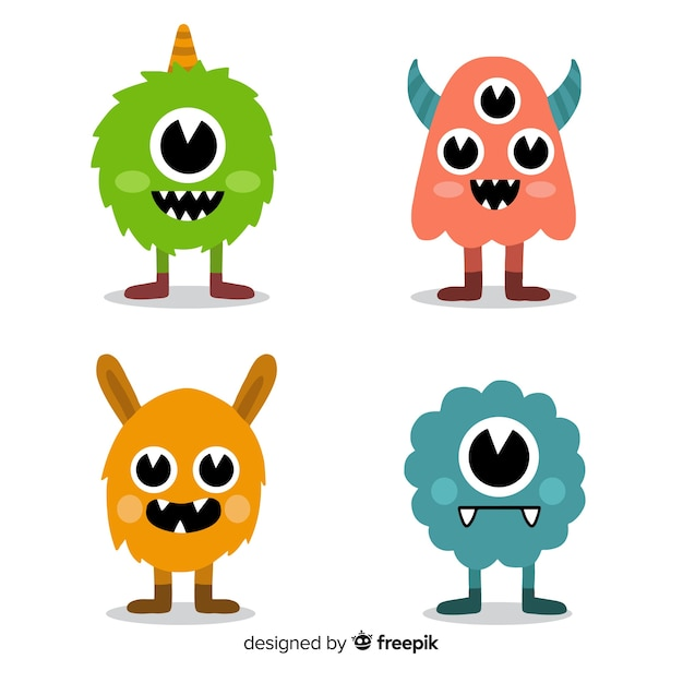 Friendly monsters pack Free Vector