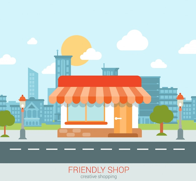 Дружелюбная витрина магазина в иллюстрации стиля города плоской. Бесплатные векторы