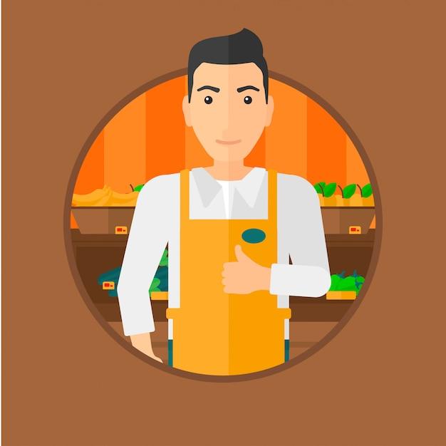 Friendly supermarket worker. Premium Vector