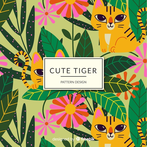 Friendly tiger pattern Free Vector
