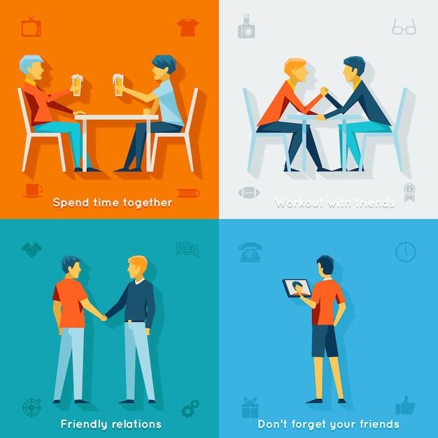 Друзья и дружелюбные концепции компании. команда дружбы, социальное сообщество, вместе счастливы, Бесплатные векторы