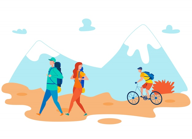 Friends backpacking holiday flat illustration Premium Vector