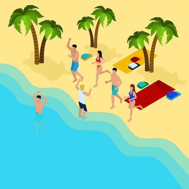 Friends on the beach illustration Free Vector