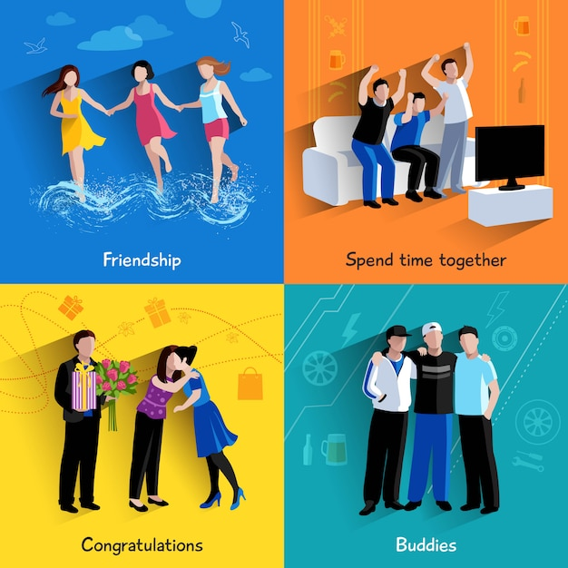 Friends buddies special events celebration and watching tv Free Vector