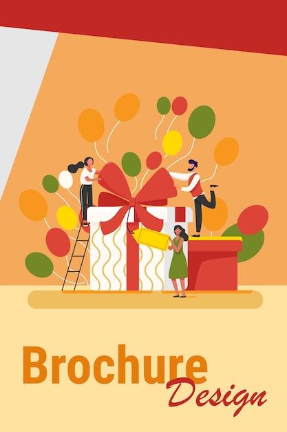 Друзья празднуют день рождения, пакуют подарки. люди, стоящие в настоящих коробках, держат бирку. векторная иллюстрация для сюрприза, вечеринки, праздничного мероприятия, концепции вознаграждения программы лояльности Бесплатные векторы