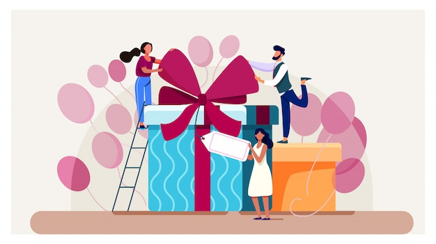 Friends celebrating birthday, packing gifts Free Vector