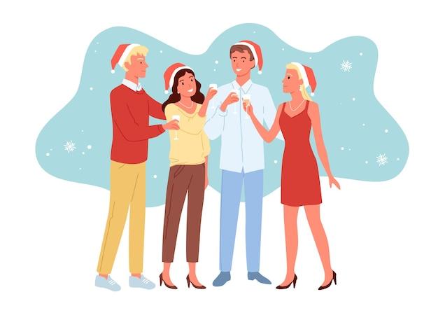 Друзья празднуют новый год вместе, девушки и парни веселятся, рождественская вечеринка, пьют шампанское Premium векторы
