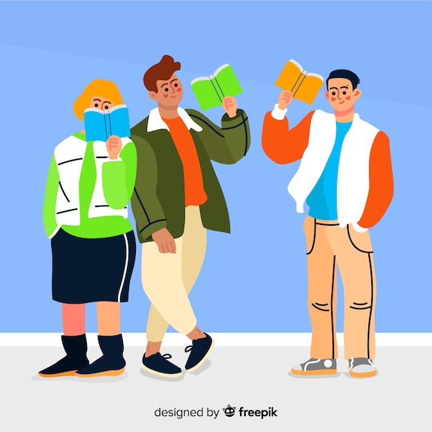 Friends characters illustration reading Free Vector