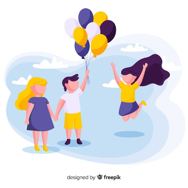 Friends childrens day background Free Vector