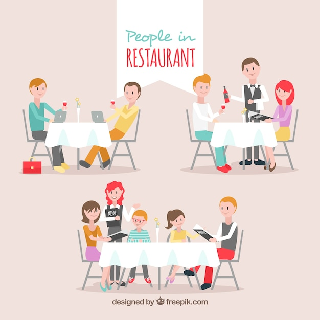 Friends, couple and family in the restaurant Free Vector