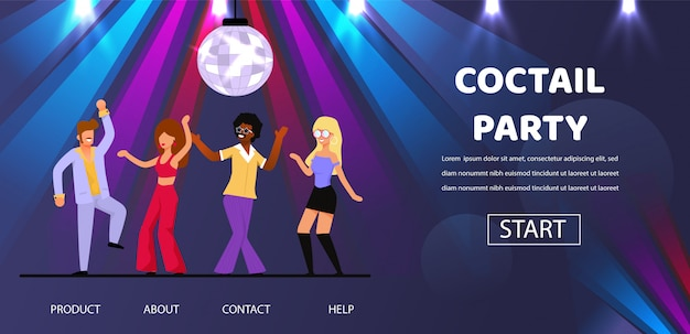 Friends dance at cocktail retro party night club Premium Vector
