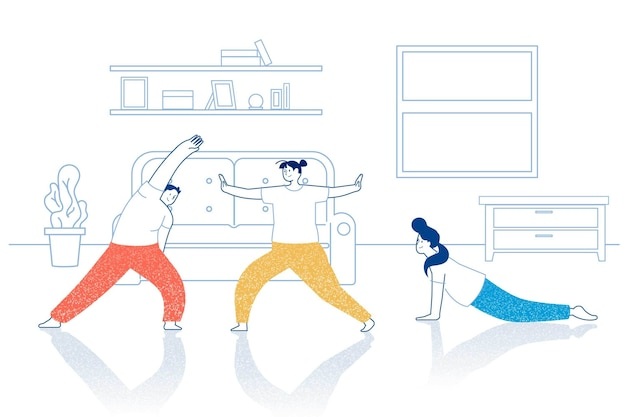 Друзья делают упражнения фитнес дома Бесплатные векторы