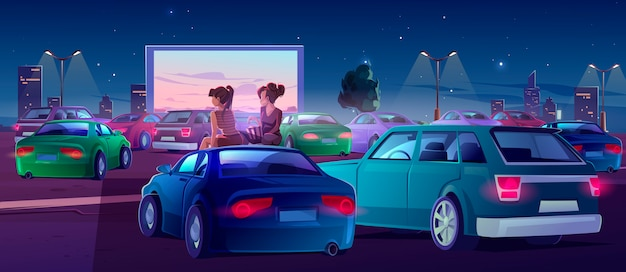 Friends in drive-in theater Free Vector