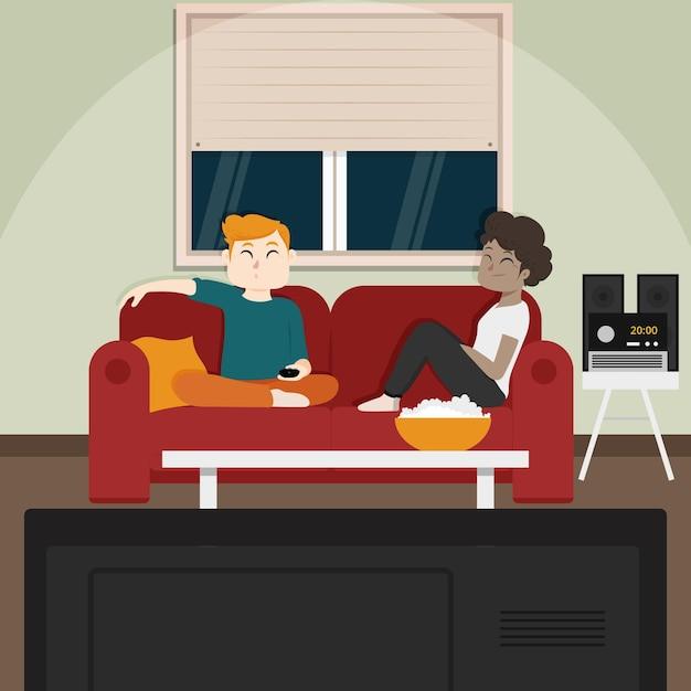 ポップコーンを食べたり、テレビを見ている友人 無料ベクター