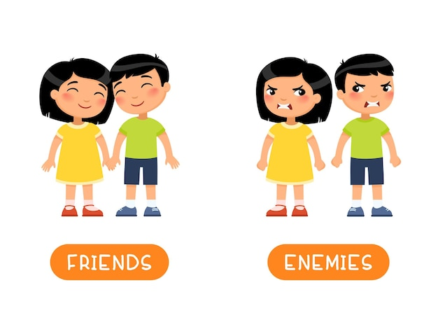 Modello di flashcard di contrari di amici e nemici. Vettore gratuito