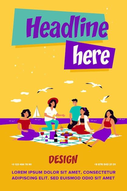 海でピクニックを楽しんでいる友達。格子縞の食べ物や飲み物と一緒にビーチに座っている幸せな人々のグループ Premiumベクター