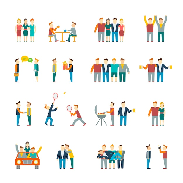 Friends and friendly relationship social team flat icon set isolated vector illustration Free Vector