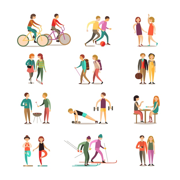 Friends and hobbies decorative icons set Free Vector