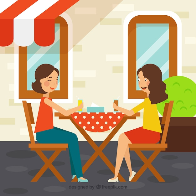 Friends In A Restaurant Background Vector Free Download