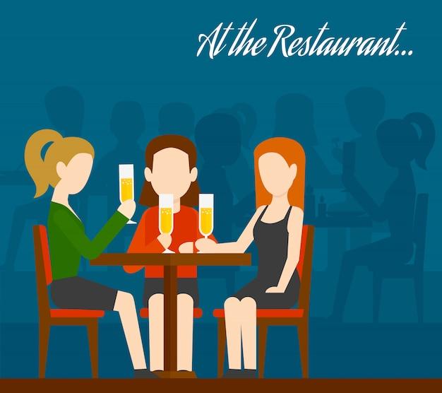 Friends meeting in restaurant Free Vector