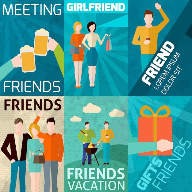 Friends mini poster set Free Vector