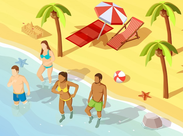 Friends ocean beach vacation isometric poster Free Vector