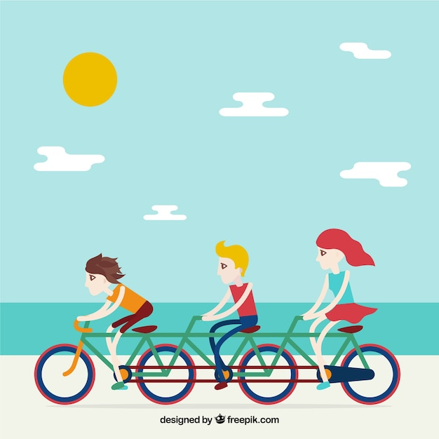 Friends on a bike with beach landscape\ background