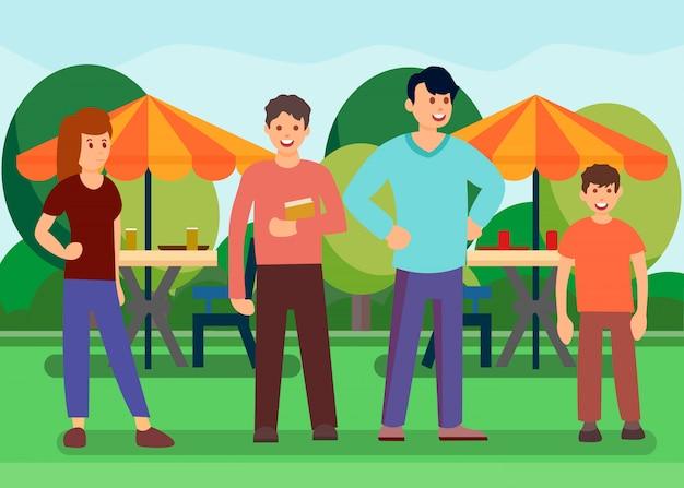 Friends in outdoor food court vector illustration Premium Vector