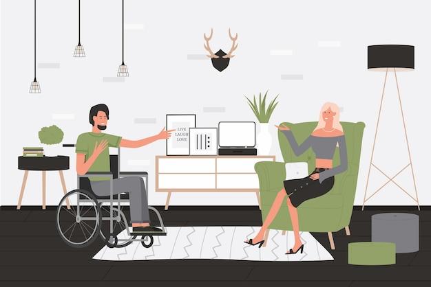 친구 사람들이 통신 벡터 일러스트 레이 션. 만화 장애인 남자 캐릭터 집 거실 인테리어에서 휠체어에 앉아 프리미엄 벡터
