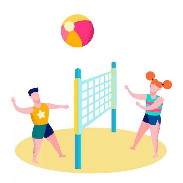 Friends playing beach volleyball flat illustration Premium Vector