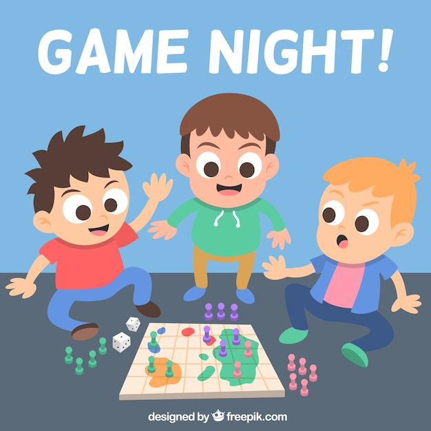 Friends playing a board game Vector | Free Download
