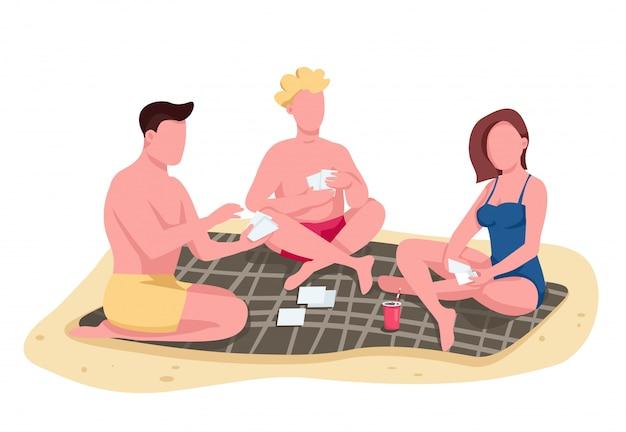 ビーチフラットカラーベクトルの顔のない文字で友人のトランプ。毛布の上に座って、日光浴する人。レクリエーション分離漫画イラスト Premiumベクター