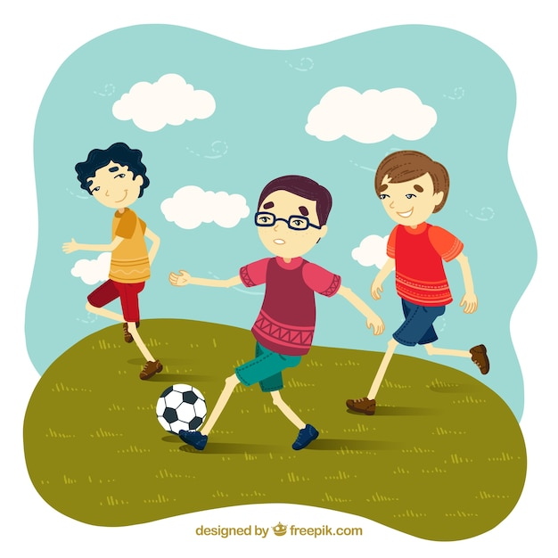 Playing football with friends clipart