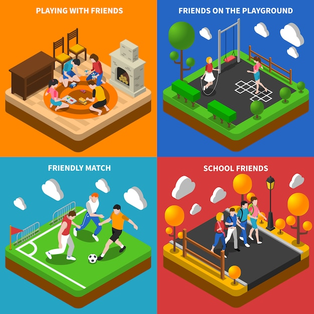 Friends playing isometric card set Free Vector