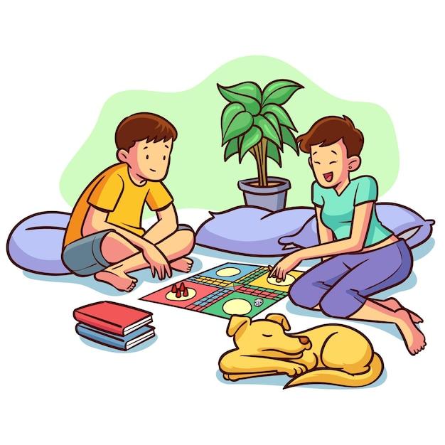 Amici che giocano gioco di ludo e cane Vettore gratuito