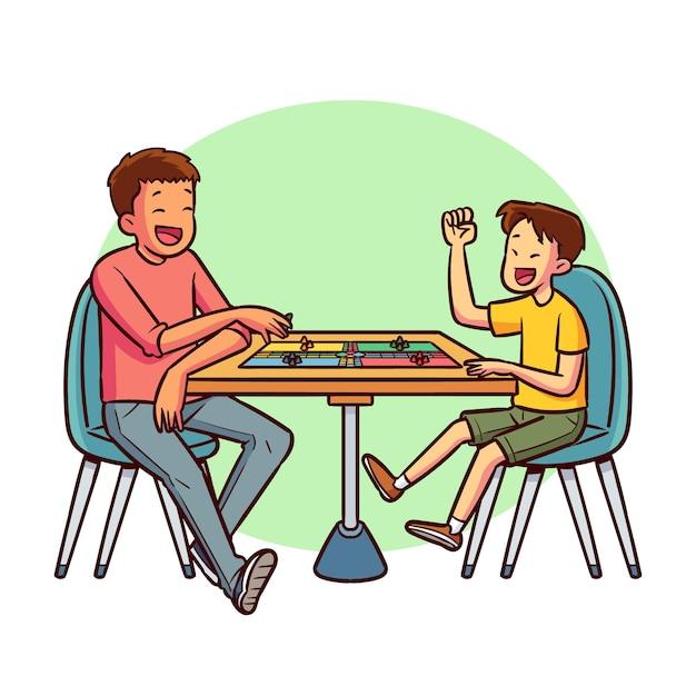 Amici che giocano a ludo al tavolo Vettore gratuito