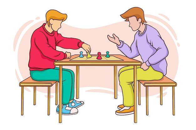 Друзья играют в лудо-игру Бесплатные векторы