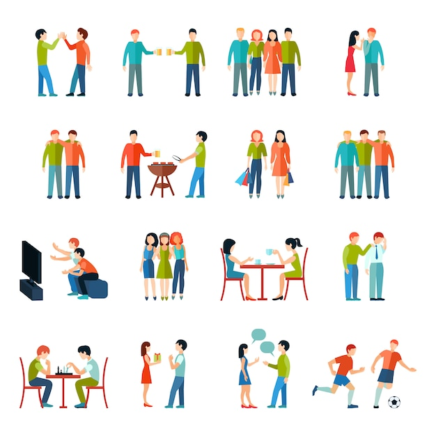 Friends relationship people society icons flat set Free Vector